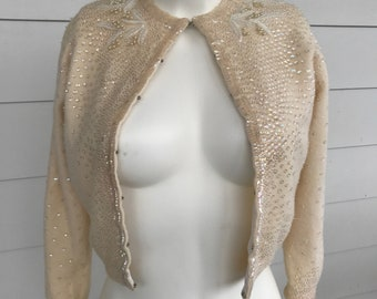 Vintage cream wool beaded sweater