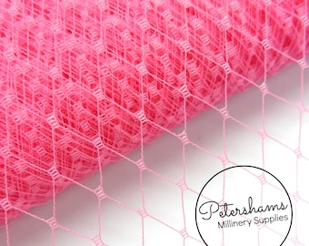 9 Inch (23cm) Russian / French Veiling for wedding blusher veils, fascinators and millinery 1m (1.09 yards) - Fuchsia Pink