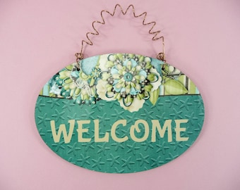 WELCOME SIGN Cute Beach Theme Gift 4x6 Hardboard Wood Glossy House Home Front Door Entryway Guests Oval Plaque Coastal Ocean Starfish Teal
