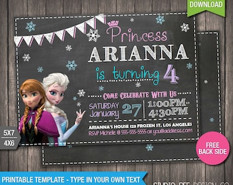 Free Disney Frozen Birthday Invitations ~ Invitations printable party decorations by studiobeedesignco