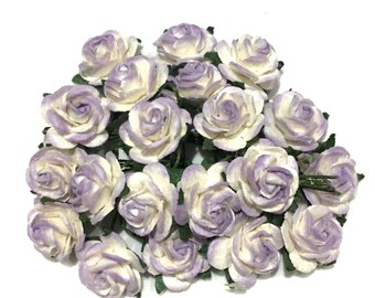 Lavender And White Open Mulberry Paper Roses Or032