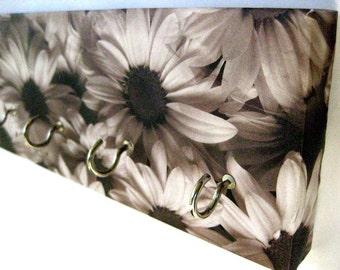 """Daisy Jewelry Holder Flower Key Rack Black and White Daisies, Flowers, Sunflowers, Silhouette, Gray, Charcoal, Garden, Floral Blooms """"Daisy"""""""