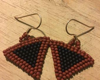 Triangle woven beaded earrings