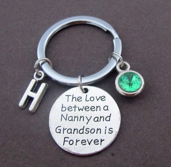 Mother's Day Gift,The Love between a Nanny and Grandson is Forever Keychain,Gift for Nanny,Gift from Grandson,Grandma Gift,Free Shipping USA