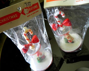 "Pair of Mid Century Santa Bell Ornaments with Candy Cane Handles--NEVER OPENED!--4-1/2"" High x 2-1/2"" Diameter--Super Charming"