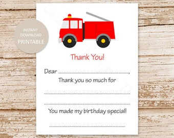 PRINTABLE firetruck thank you cards . kids birthday fill in the blank . fire truck rescue vehicles | INSTANT DOWNLOAD
