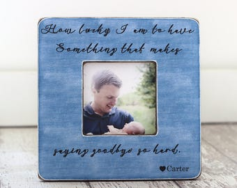 Dad Gift Fathers Day Frame Personalized Picture Frame 'How Lucky I Am' Quote Husband Grandfather Grandpa Gift