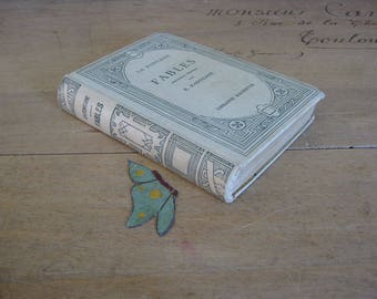 La Fontaine Fables with butterfly bookmark, decorative French book, 1929 cream and green book by Hachette