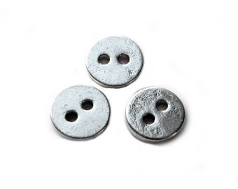 10 Silver Buttons 1/2""