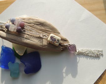 Lavender Sea Glass Tassel Necklace with Purple Sea Marble, Authentic Sea Glass