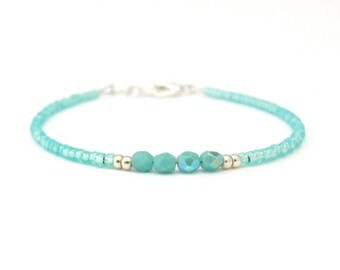 Friendship Bracelet, Tuquoise Bracelet, Beaded Bracelet, Seed Bead Bracelet, Tiny Bracelet, Aqua Blue Silver Plated, Gift for Friend Sister