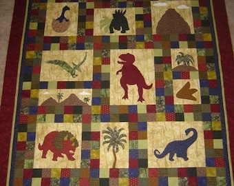 Dinosaur Quilt PATTERN -  Dinosaurs on Chloe Lane - Baby Quilt- Throw Quilt - Wall Art - PDF - Boys - Children