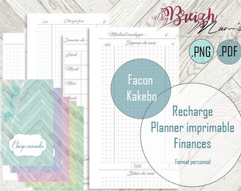 Planner finance, printable, undated, personal size