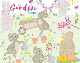 Gardening Clipart-Garden Clipart-Cute Animal Gardening Clip art-Spring-Summer-Hand drawn Animals-Floral-Rabbit-Mouse-Bear-BUY2GET1MOREFREE