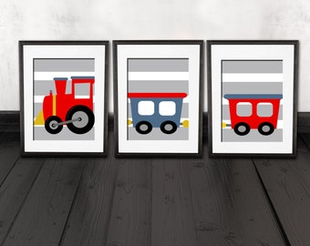 COLOR customized, Trains wall art prints, trains wall print decorations, train nursery art, shipped to your door. high quality prints