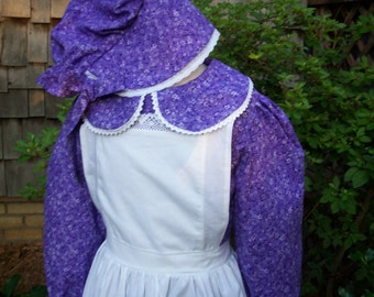 Girls Pioneer Dress,Pinafore, and Bonnet ..  Laura Ingalls Costume (PLEASE read full details inside of ad)