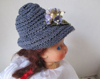 Vintage Look Doll Hat Periwinkle Braided for 10-12 inch Girl Doll