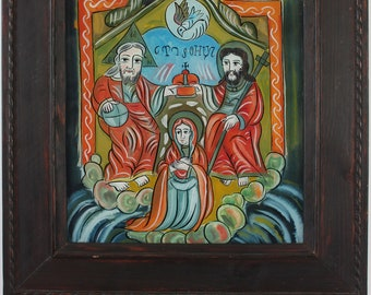 The crowning of the Mother of God. Romanian Folk reverse icon  glass handmade painted.  Available the icon shown in the photos.