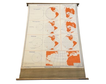 Vintage Hanging Chart - Map Projections - Denoyer Geppert - Circa 1943 - Wall Covering - Man Cave - The World is Round