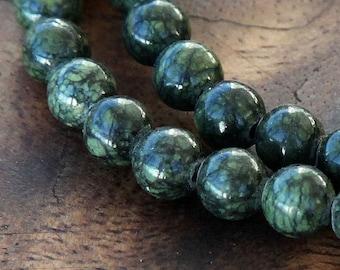 Russian Serpentine Beads, Dark Green, 6mm Round - 15 inch Strand - eGR-RS001-6