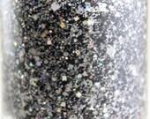 Blackout Glitter Nail Polish Black Gray Silver 5 free nail polish handmade indie nail polish vegan cruelty free nailpolish