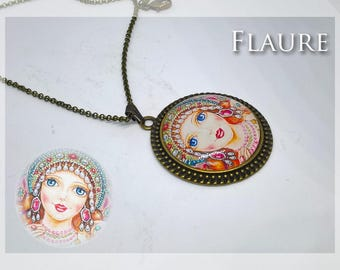 "Cabochon pendant necklace ""The doll of Russia"""