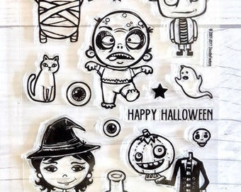 Halloween stamps, halloween stamp set, zombie stamps, witch stamps, moon stamps, ghost stamps, frankenstein stamps, cats, halloween planner