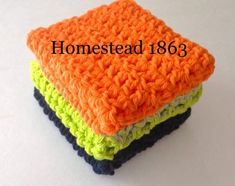 Halloween Cotton Washcloths, Cleaning Cloth, Ecofriendly, Reusable, Set of 3, Crochet Washcloths, Handmade, Crochet Washcloths