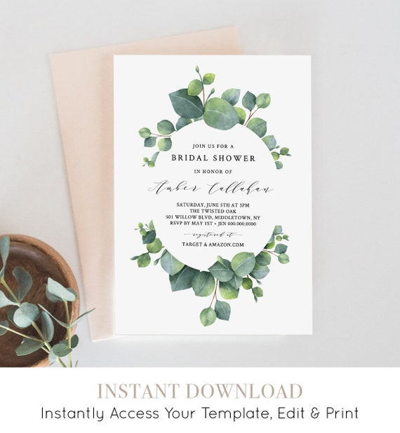 Eucalyptus Bridal Shower Invitation Template, Greenery Wedding Shower Invite, Printable, 100% Editable, INSTANT DOWNLOAD Templett #036-116BS