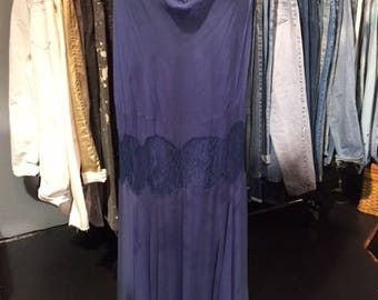 1920's As is Blue  Silk Chiffon Gown