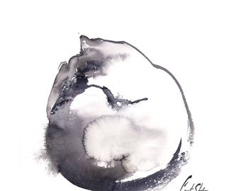 Sleeping Cat Painting, Original Watercolor Painting, Cat Painting, Black and White Modern Cat Painting Art, Minimalist cat painting