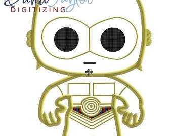 Pop Star Wars C3PO - 4x4, 5x7 and 6x10 in 9 formats - Applique - Instant Download - David Taylor Digitizing