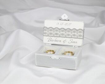 Wedding Ring Box, Ring Bearer Box, Ring Holder, Double Ring Box, Grey Ring Box
