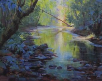 The Creek - Original acrylic river painting