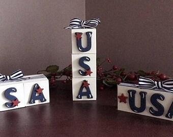 USA blocks, vertical & horizontal