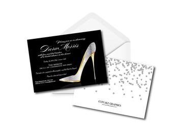 stiletto bridal shower invitation shoe theme shoe lover
