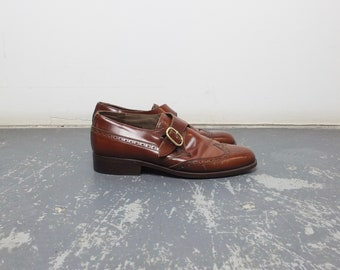 Size 7.5 Women's / 80s Brown Leather Wingtip Monk Straps / Made in Italy