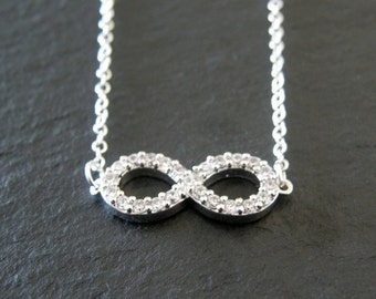 Infinity Necklace, Cubic Zirconia Infinity Necklace, Gift for Her, Bridal Jewelry