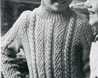 Children's Arran Pullover knitting Pattern PDF / Sizes 4 6 8 10 / Fisherman knit sweater pattern / Children's pullover Aran sweater pattern