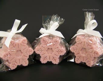 Snowflake Soap Dusty Pink Snowflake Soaps Holiday Stocking Stuffers Co-worker Gifts Christmas Gift Cherry Vanilla Scented