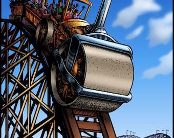 "Steam Roller Coaster 8"" x 10"" Whimsical Roller Coaster Art Print"