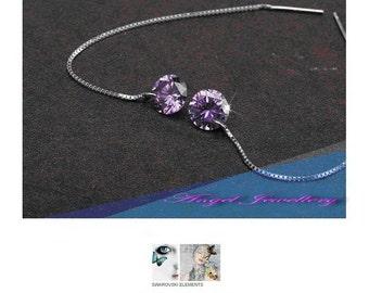 New Handmade Dangle Zircon Earrings Purple Crystal Sterling Silver 925 For Pierced Ears Perfect Gift For Ladies