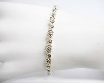 """Marcasite Bracelet, Sterling Bracelet, Vintage Bracelet, Silver Bracelet, Vintage Sterling Silver Marcasite Accent Bracelet 7.25"""" #2991"""