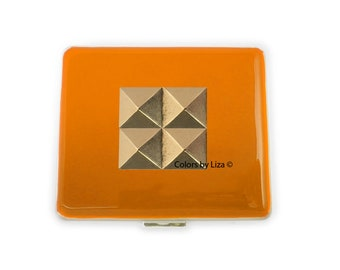 Studs Weekly Pill Box inlaid in Hand Painted Orange Opaque Enamel Geometric Inspired Personalized and Color Options Available