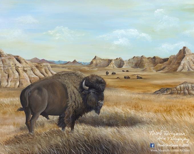 Roaming the Badlands Art Buffalo Painting Father's Day gift Buffalo Print Bison Art Buffalo Decor Gift for men South Dakota Art Canvas print