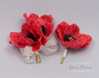 Red Poppy Pin Corsage & Boutonniere Set. Real Touch Flowers