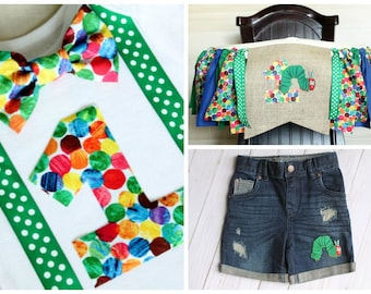 3 Piece Party Set! Caterpillar Bodysuit, Caterpillar Highchair Banner and Denim, Hungry Caterpillar First Birthday Boy