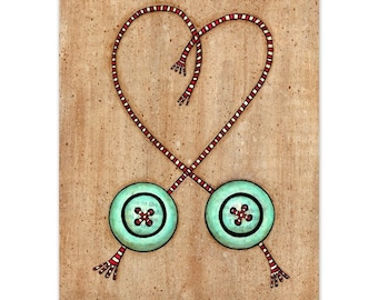 Heart Strings- Turquoise Buttons with Red and White Striped Thread 8x10 Mixed Media Reproduction Art Print