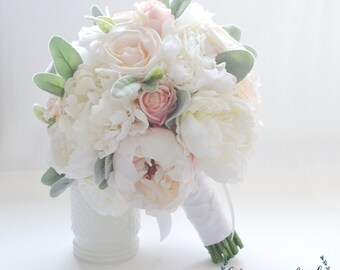 Peony Bouquet, Bridal Bouquet, Bride Bouquet, Wedding Bouquet, Silk Peony Bouquet, Blush Pink Bouquet, Beach Bouquet, White Peony Bouquet