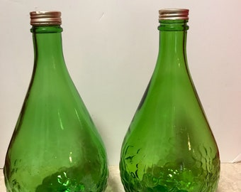 Vintage Gallo Wine Green  Half Gallon Table Wine Bottle's Rustic Country Kitchen Cottage Chic